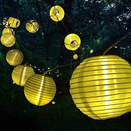 Tobbiheim Laterne Lichterkette 20 LED 6 Meter mit Solar USB DoppelLadung Super Lange Beleuchtungszeit Wasserdicht IP68 Outdoor Garten Außenbeleuchtung mit 2M Zuleitung - Warmweiß