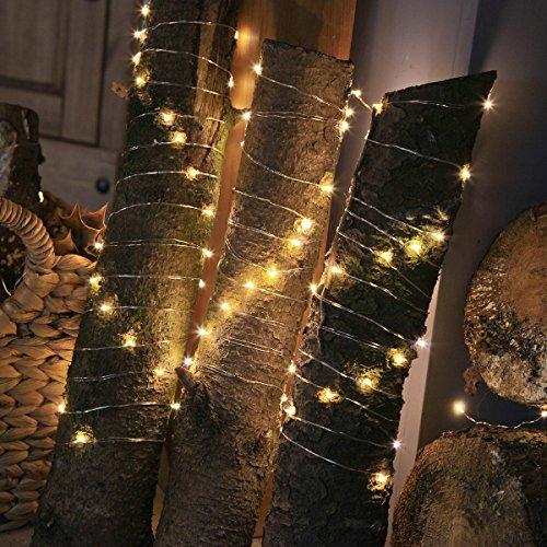 batteriebetriebene wetterfeste Innen Outdoor Lichterkette – 10m mit 100 Mikro-Draht LEDs oder 20m mit 200 Mikro-Draht LEDs - zusätzliche Timer Blink-Funktion von Festive Lights Warmweiß 20m 200 LEDs
