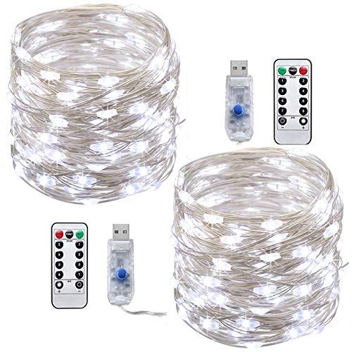 LED lichterkette USBTonskooners 10M 100LEDs Kupferkabel Micro Lichterkette mit Fernbedienung 8 Modi und Zeitwahl Dimmen LED-Lichter Kaltes Weiß-10m
