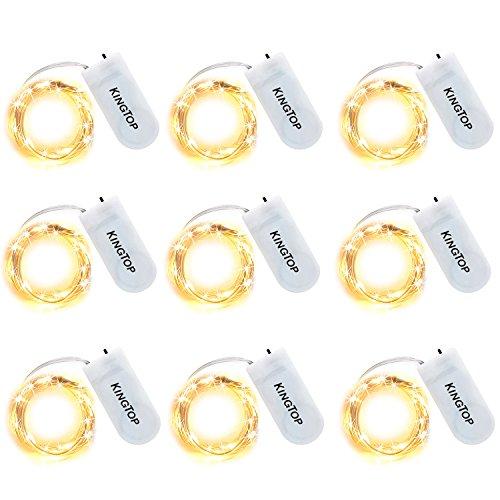 Lichterkette 20er LED Drahtlichterkette Batterie-betrieben Silberdraht Warmweiß Wasserdicht lichterkette für Party Fest Beleuchtungdeko Weihnachtendeko 9 pack