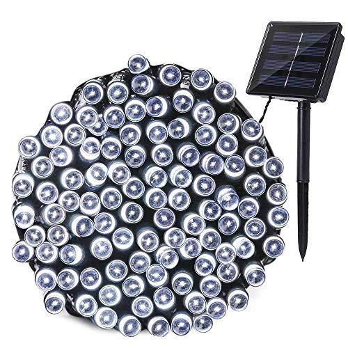Qedertek Solar Lichterketten Außen 22m 200 LED Weihnachsbeleuchtung Weiß 8 Modi Lichterkette für Außen Weihnachten Party Haus Hochzeit Garten Deko