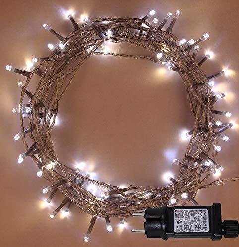Weihnachts-Lichterketten 200 LED 2 in 1 Warmweiß und helle weiße Baum-Lichter Innen- und im Freiengebrauch Netzbetriebene feenhafte Lichter 20m66ft Lit-Länge - Klares Kabel