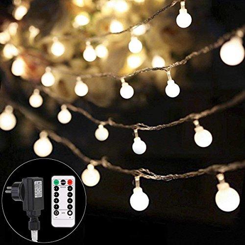 Lichterkette strombetrieben B-right 100 LED Globe Lichterkette Lichterkette warmweiß Innen und Außen Lichterkette glühbirne Fernbedienung Lichterkette für Weihnachten Hochzeit Party Weihnachtsbaum
