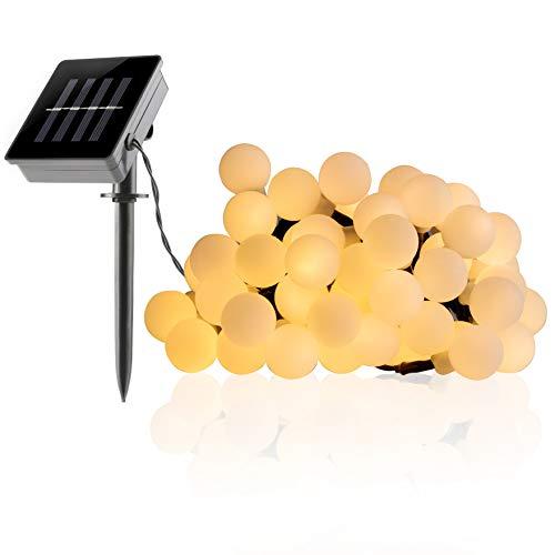 FITFIRST 50er Solar LED Warmweiß LichterketteWasserdicht AußenInnen Kugel Solarleuchte7m mit WandmontageDekoration für WeihnachtenHalloweenGeburtstagsfeiernThanksgiving PartyGarten
