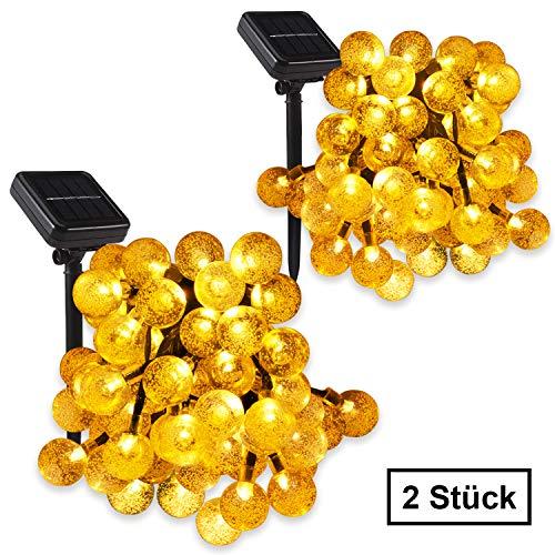 Solar Lichterkette LumiNik 2 Stück 45M 30 LED Lichterkette Außen Kristall Kugeln Lichterkette für GartenWeihnachten Party Hochzeit Haus etcWarmes Weiß