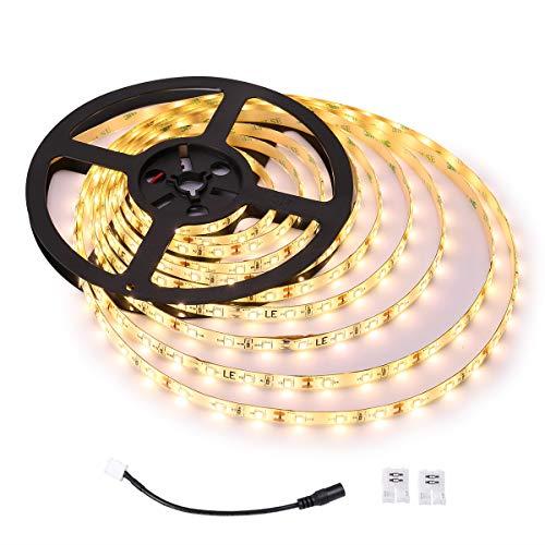 LE 5M LED Strip IP65 wasserfest LED Streifen Warmweiß Lichtkette 12V mit 300 LEDs 2835 SMD Flexible LED Band ideal für Decke Deko Küche Innenraum usw