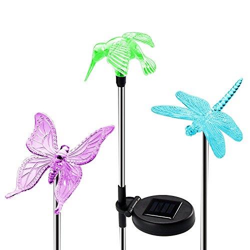 Beleuchtung Außen Garten OxyLED Solar Garten Lampen Kolibri Schmetterling Libelle Solar Lichter Außen Dekoration Lichter für den GartenRasenFeldTerrasseWegGL-01