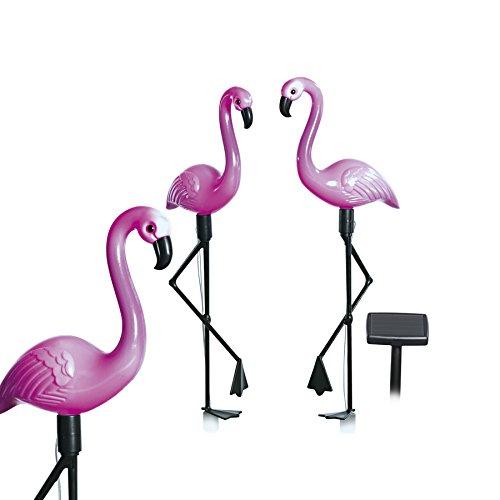 EASYmaxx 09383 Solar-Flamingos  3er-Set mit Solar-Panel  für Balkon Terasse und Garten