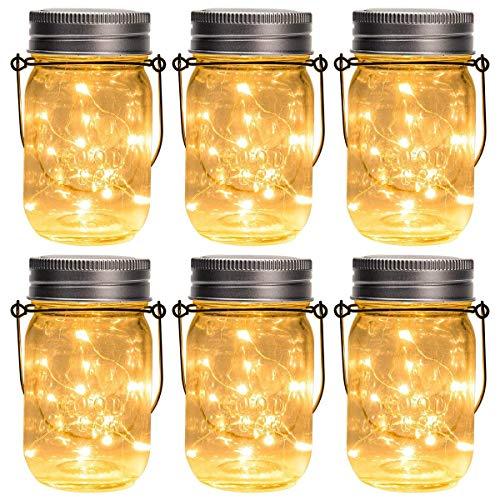 GIGALUMI Solar Mason Jar Licht 6 Pack 15 LED Wasserdicht Solar Glas Einmachglas warmweiß Garten Hängeleuchten für Party Weihnachten Hochzeit