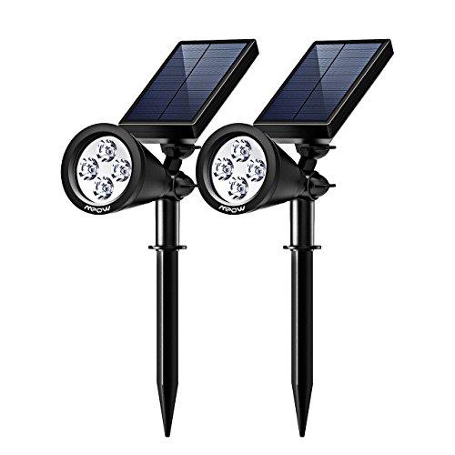 Mpow 2 Stücke 4 LED Garten Solarlampe Solarleuchten Outdoor Wandleuchte Helle Garten-Licht 2 Beleuchtungsmodi Wasserdicht Solarlicht Sicherheitsbeleuchtung Aussenlicht für Garten Hof Pfad
