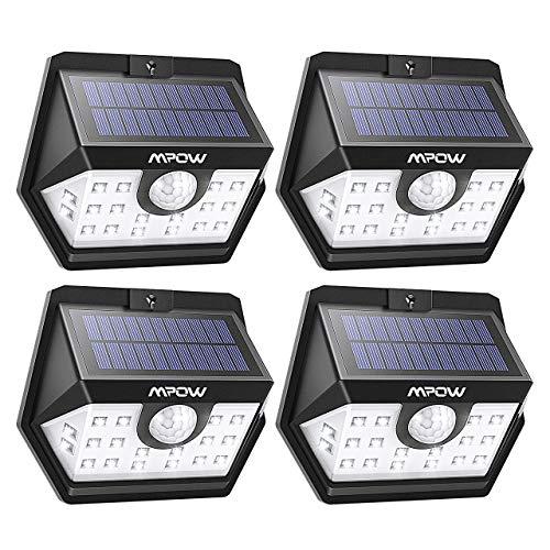 Mpow 20 LED Solarlampen für Außen Solarleuchte mit Bewegungsmelder Solarlicht 120 ° Weitwinkel Solarlampe Solar Sicherheitswandleuchte Wasserdicht für Garten Garage Auffahrt Hof Balkon Pfad