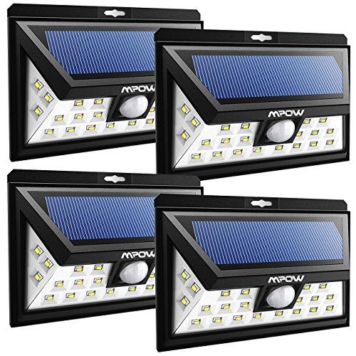 Mpow 24 LED Solarleuchten Weitwinkel Solar Wandleuchte Außen Solar Betriebene Außenleuchte Wandleuchte Energiesparend Wasserdicht 3 Modi Sicherheit Bewegungssensor für Garten Patio