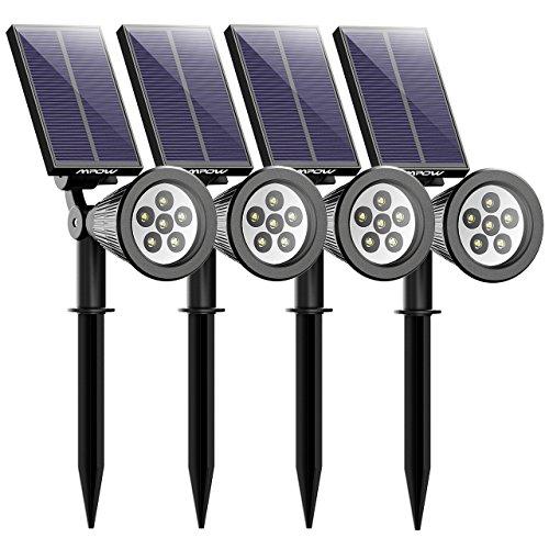 Mpow 4 Stücke 6 LED Solar Solarleuchten Outdoor Wandleuchte Helle Garten-Licht 2 Beleuchtungsmodi WasserdichtSicherheitsbeleuchtung Großes Außenlicht für Garten