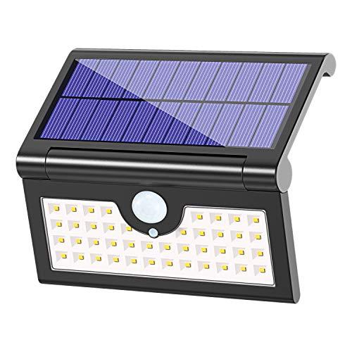 Solarleuchte Garten 42 LED MATONE 250°Faltbare Solarlampen für Außen Solar Betriebene Sicherheitswandleuchte Wasserdichte Wegeleuchte mit Bewegungsmelder für Hof Balkon Terrasse Gehweg Schwarz