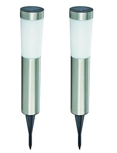 2 x Edelstahl LED Solar Gartenleuchte Wilna Solar Wegeleuchte Dekoleuchte mit weißem Kunststoff-Schirm u Erdspieß
