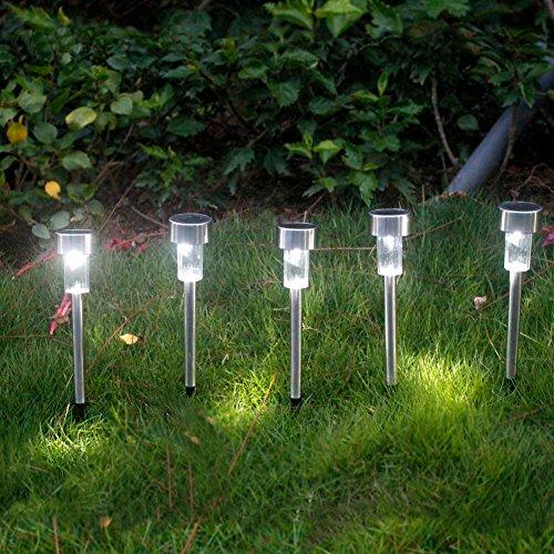 5 X Solarleuchten LED Solarlampe aus Erdspieß Edelstahl Aussenleuchten Solar Wegbeleuchtung Wasserdicht für die Hinterhöfe Gärten Rasen Von NORDSD