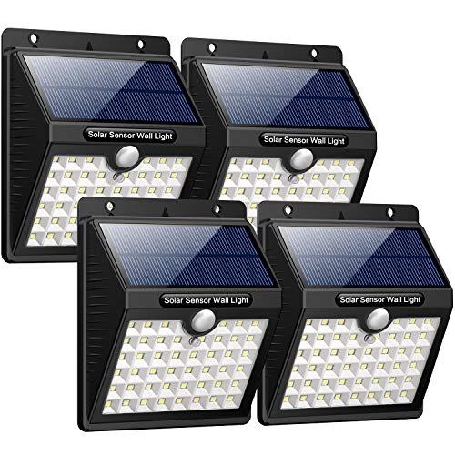 iposible 【3 Modi -1800mAh】 Solarleuchte für Außen 4 Stück 46 LED Solarlampen mit Bewegungsmelder Wasserdichte Solar Beleuchtung LED Solar Wandleuchte Solarlicht Draußen für GartenPatio