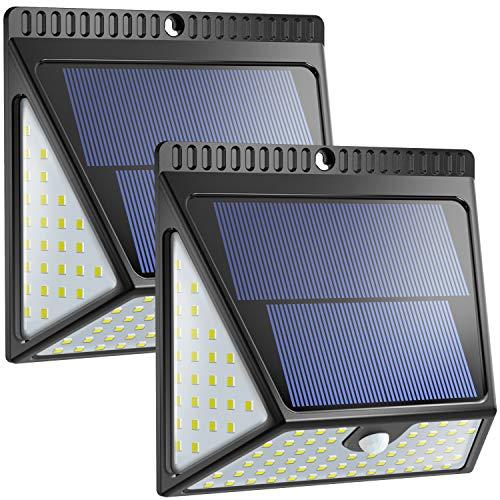 Aufgerüstete 82 LED Solarlampen für den Außenbereich Neloodony Bewegungssensor Solar Led Sicherheitslampen kabellose wasserdichte superhelle Wandleuchten mit Weitwinkel für Vordertür 2-pack