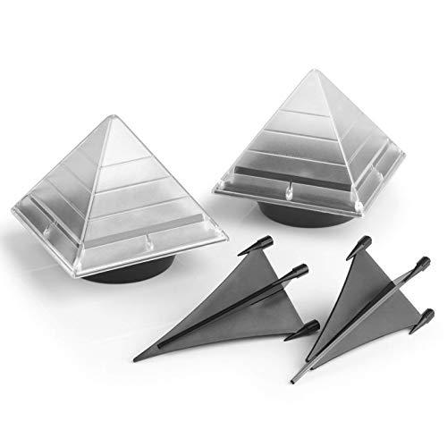 EASYmaxx Solar-Leuchte Pyramide 2er-Set 12V- Tageslichtsensor- integrierte Solarpanels