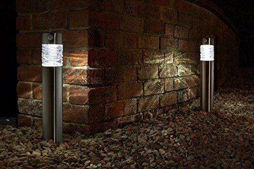 2er LED Solarleuchte mit Bewegungsmelde aus hochwertigem Edelstahl und echtem Glas hergestellt  exklusive Solar Lampe perfekt für Garten Dekoration Wegbeleuchtung und vieles mehr einzeln
