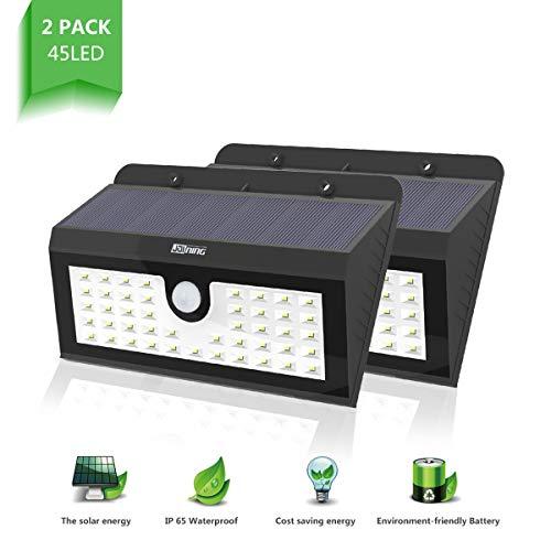 2 Stück 45 LED Solarleuchte Außen Wasserdichte Solar Betriebene Lampe mit 120° Weitwinkel Bewegungs Sensor Solar für Garten Terrasse Wegbeleuchtung