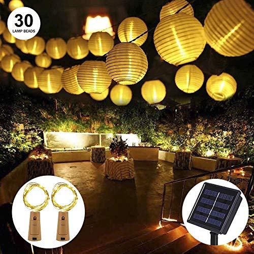 LED Solar Laterne Lichterketten OFUN 65M 30 LED 2 Beleuchtung Modi Wasserdicht Laterne Solar Power Lichterketten für Outdoor Party Garten Rasen Terrasse Home Decortaion Warm White