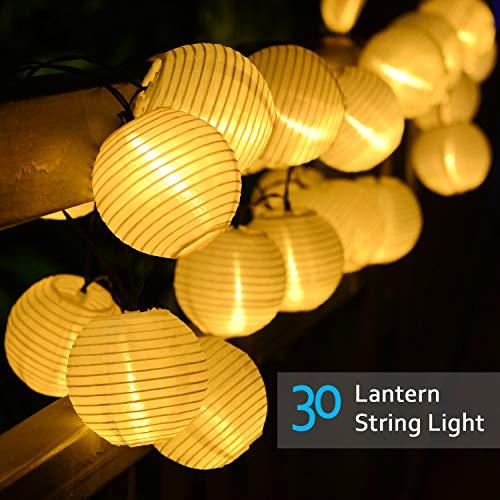 Lvyleaf Outdoor Solar Lichterkette Lampions 30 LED Garten Außen Wasserfest 38 Meter Warmweiß Solar Beleuchtung für Party Terrasse Hof Haus Outdoor Fest Deko