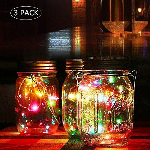Solar Mason Jar Lichter warm Jar Fairy Lampe mit wasserdicht Mason Jar Deckel outdoor Dekorative Laterne Beleuchtung für Garten Terrasse Weg Baum Urlaub Hochzeit Party Deco Mehrfarbig-3pcs