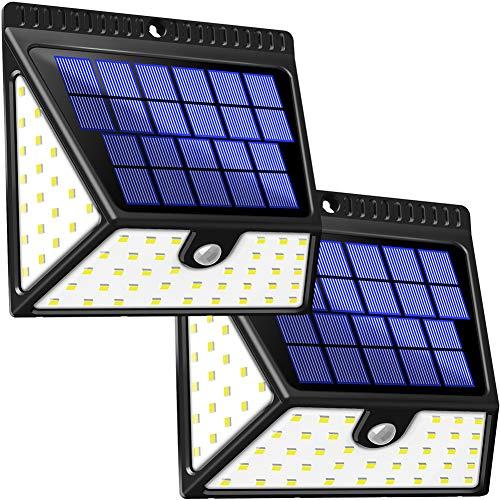 Solarleuchten Außen BAXiA 1640LM Solarlampen für Außen mit Bewegungsmelder Solar Beleuchtung Wasserdichte Wandleuchte Solarlicht Aussen für Garten Wände Zaun Patio Gehweg Terrassen82 LED 2 Stück