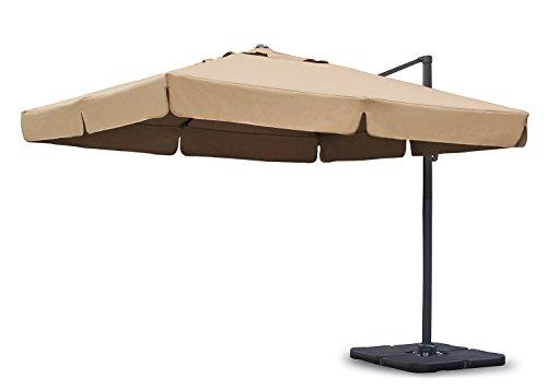 Sekey Sonnenschirm 300 x 300 cm Aluminium-Sonnenschirm Marktschirm Gartenschirm Terrassenschirm Ampelschirm Kurbelschirm BeigeTaupe Quadratisch Sonnenschutz UV50 23kg