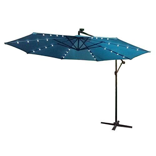 LARS360 Ø300cm Aluminium Sonnenschirm Mit Solar LED Marktschirm Balkonschirm Gartenschirm Ampelschirm Kurbelschirm Gartenschirm UV40 Schutz Blau mit Solar LED