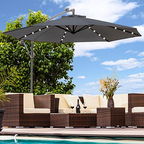 Luxus Sonnenschirm mit LED Beleuchtung Ampelschirm 300 cm Solar Garten Schirm Pavillon Anthrazit