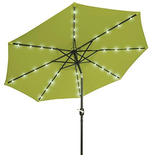 Sonnenschirme 3 M Crank Solar Lichtschirm Markt Terrasse Outdoor LED Regenschirme Selbstaufladung LED Gartenschirm Farbe  Grün