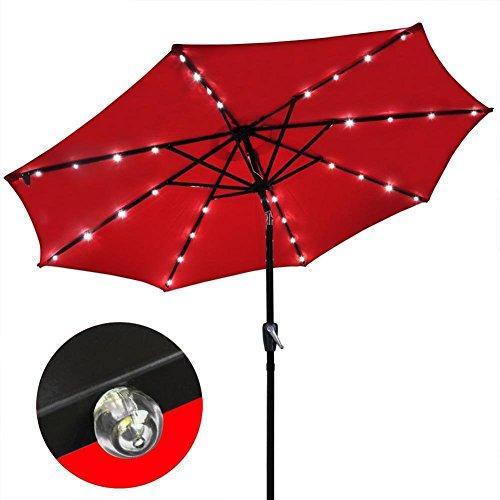 Sonnenschirme Solar-Licht-Regenschirm-Markt-Patio-im Freien LED-Regenschirme Selbstaufladender LED-Garten-Regenschirm 3 M Farbe  Rot