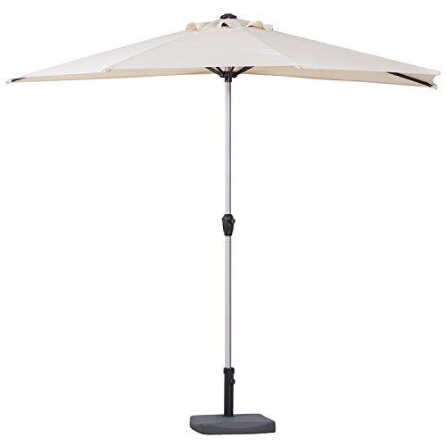 270cm Halber Sonnenschirm Balkonschirm halbrunder Balkonsonnenschirm - Wahl der Farben Natürlich