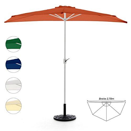 Nexos GM35098_SL Komplett-Set Sonnenschirm Terracotta Halb-Schirm Balkonschirm Wandschirm halbrund 270m mit passendem Schirmständer und Schirmschutzhülle Orange 270 x 140 x 235 cm