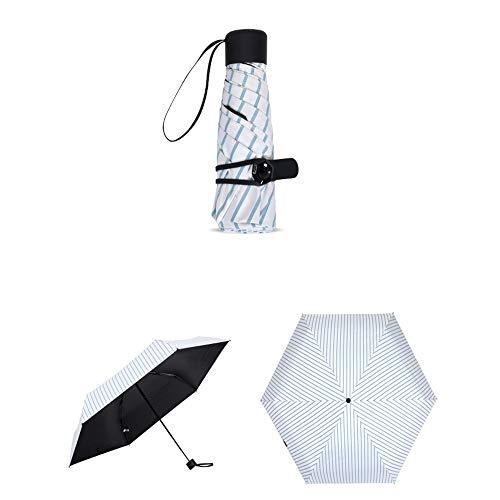 ZXF SD Ultra Light Halben Regenschirm Schirm Mini Super Leichte Fünffachen Dach Gestreiften Tasche Schirm Sonnenschirm - SchirmBlau