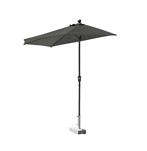 greemotion Balkonschirm Mykonos anthrazit halb-runder Sonnenschirm mit 5 Stahlsprossen Schirmdach mit UV-Schutz 35 Standschirm mit Kurbel Dach aus Polyester 180 gm² Maße ca Ø 270 x H 280 cm