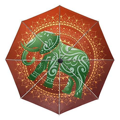 COOSUN Indischer Elefant Automatic 3 Folding Sonnenschirm-Regenschirm Farbe  002