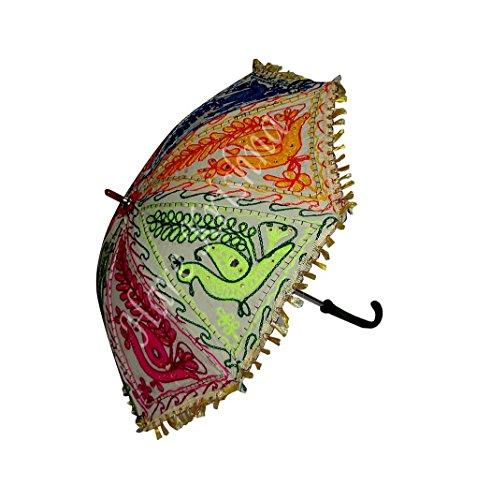 Indische Handgemachte Stickerei Sonnenschirm Damen Kleine Sonnenschirm 61 x 71 cm