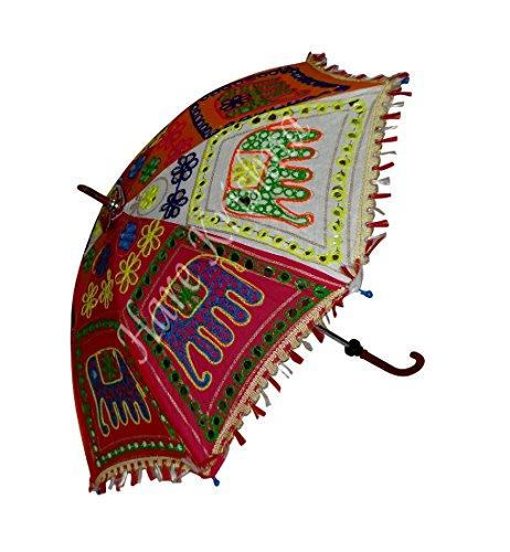 Indische Handgemachte Stickerei Sonnenschirm Damen Sonnenschirm 61 x 71 cm