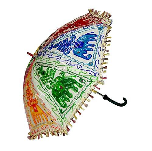Indische Handgemachte Stickerei Sonnenschirm Sonnenschirm 61 x 71 cm