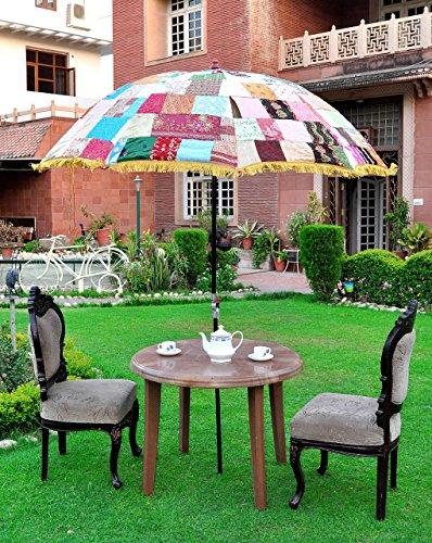 Lalhaveli Multicolor Patchwork Baumwollgewebe Indischen Garten Terrasse Sonnenschirm im Freien