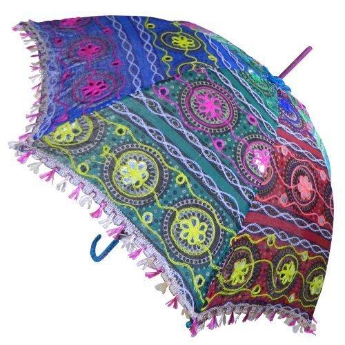 indischerbasarde Sonnenschirm 85 cm bunte Stickereien Mehrfarbig Bunt Baumwolle Spiegel Spitzenborte Schirm Accessoire