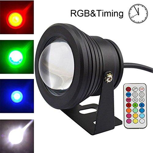 COOLWEST RGB LED Unterwasserscheinwerfer Dekorative Garten Schwimmbad Teich LichtNacht Schalt230V  10Wmit Wireless IR Fernbedienung