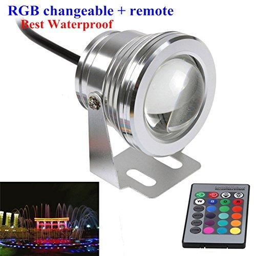 Jinda 12V 10W RGB unterwasser LED lampen Leuchte für Hochzeit Party Weihnachten 900LM Wasserdichte LED Licht mit FernbedienungSilber