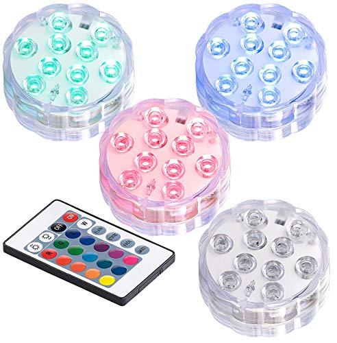 Lunartec Poolbeleuchtung 4er-Set RGB-LED-Unterwasserleuchten mit Fernbedienung Timer IP68 Aquarium-Licht LED