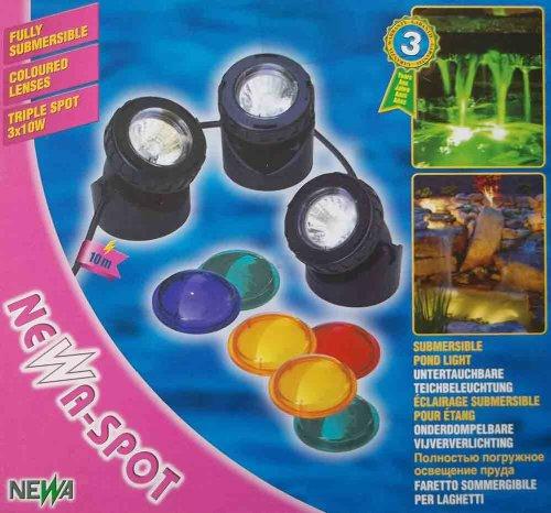Newa HALOGEN Unterwasser-Spot mit 3 Leuchten a 10 Watt inkl 10 Meter Kabel Trafo und verschiedenen Farbscheiben