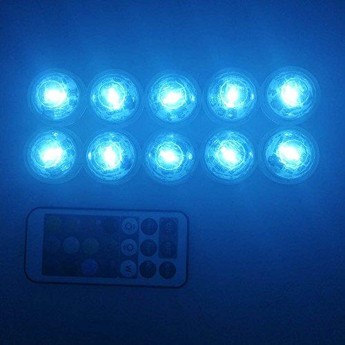 Unterwasser Licht mit Fernbedienung RGB Multi Farbwechsel Wasserdichte LED Leuchten Teichbeleuchtung für Vase Base Dekoration RGB-10 Stück