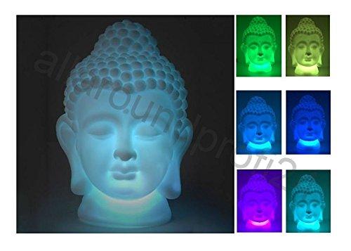 Buddha Leuchte Dekoleuchte Deko Lampe LED 18cm mit Farbwechsel Gartenlampe  10 gratis Batterien